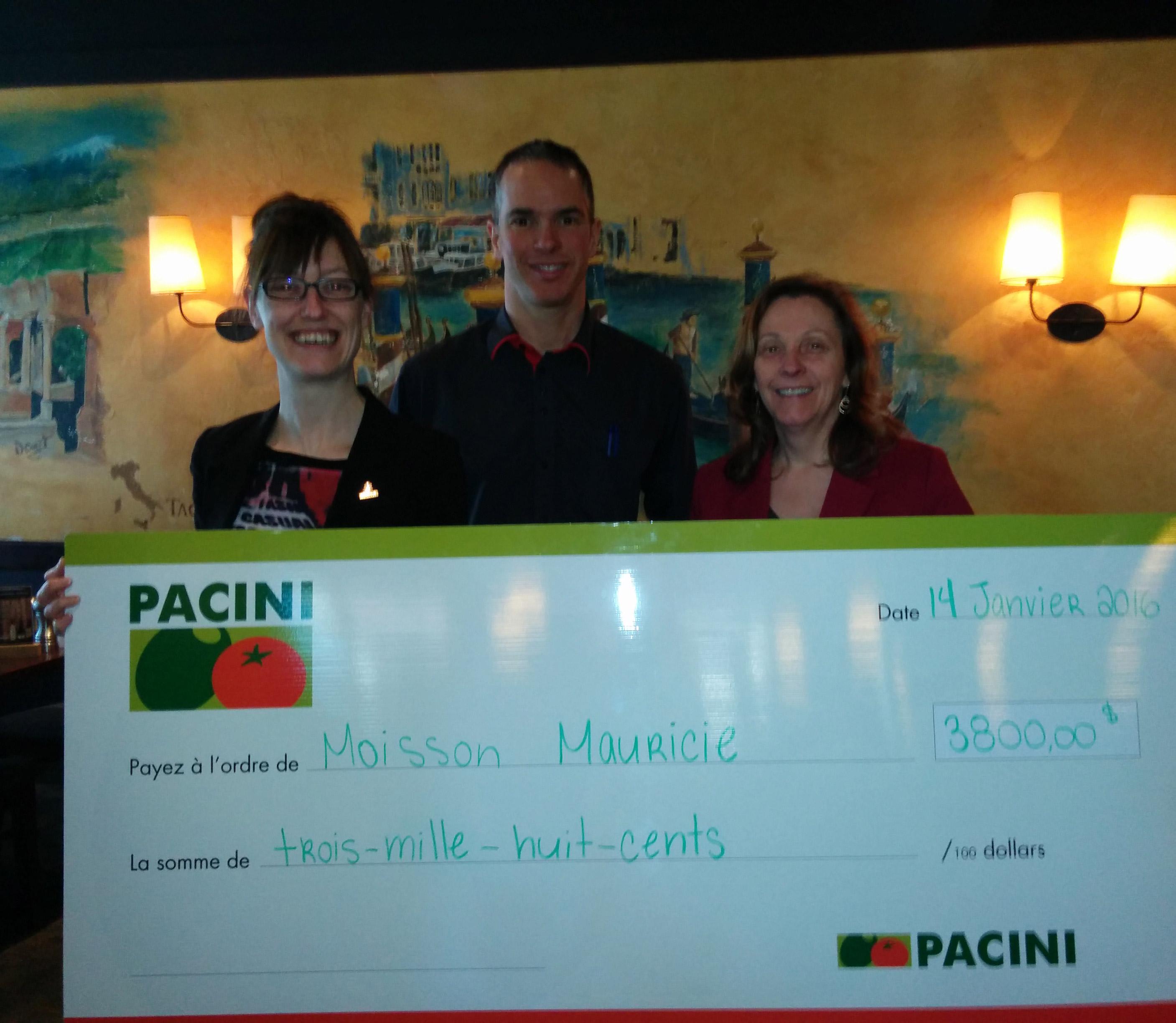 Un don de 3 800 $ pour Moisson et un partenariat avec Pacini qui se poursuit